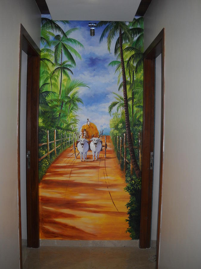 Wall Scenery Relief - Morning In The Village by Sandy Goriwale