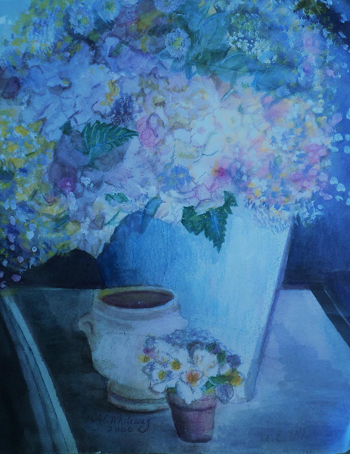 Morning Table Bouquet And Cups  The Cropped Version Painting  - Morning Table Bouquet And Cups  The Cropped Version Fine Art Print