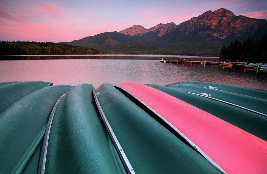 Morning View Of Pyramid Lake In Jasper National Park Digital Art