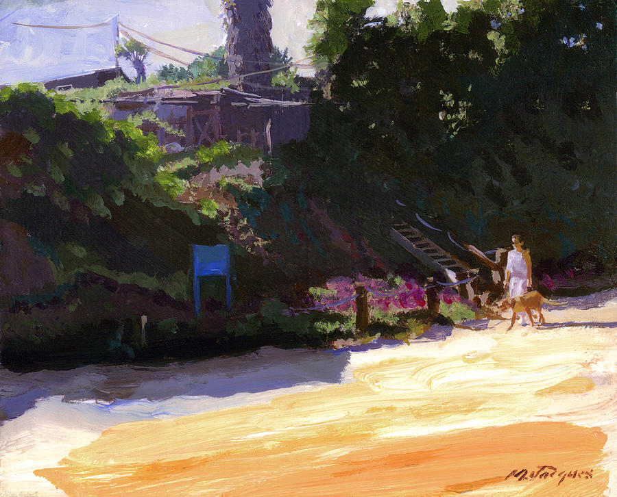 Morning Walk At Crystal Cove Painting  - Morning Walk At Crystal Cove Fine Art Print