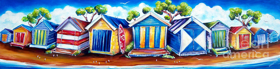 Mornington Beach Huts Painting  - Mornington Beach Huts Fine Art Print