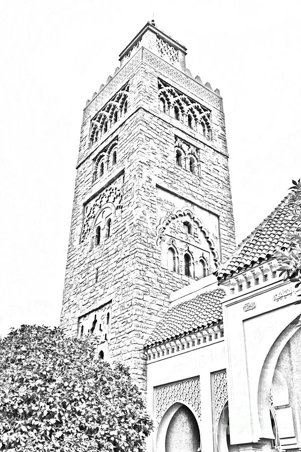 Morocco Pavilion Minaret Epcot Walt Disney World Prints Black And White Line Art Digital Art