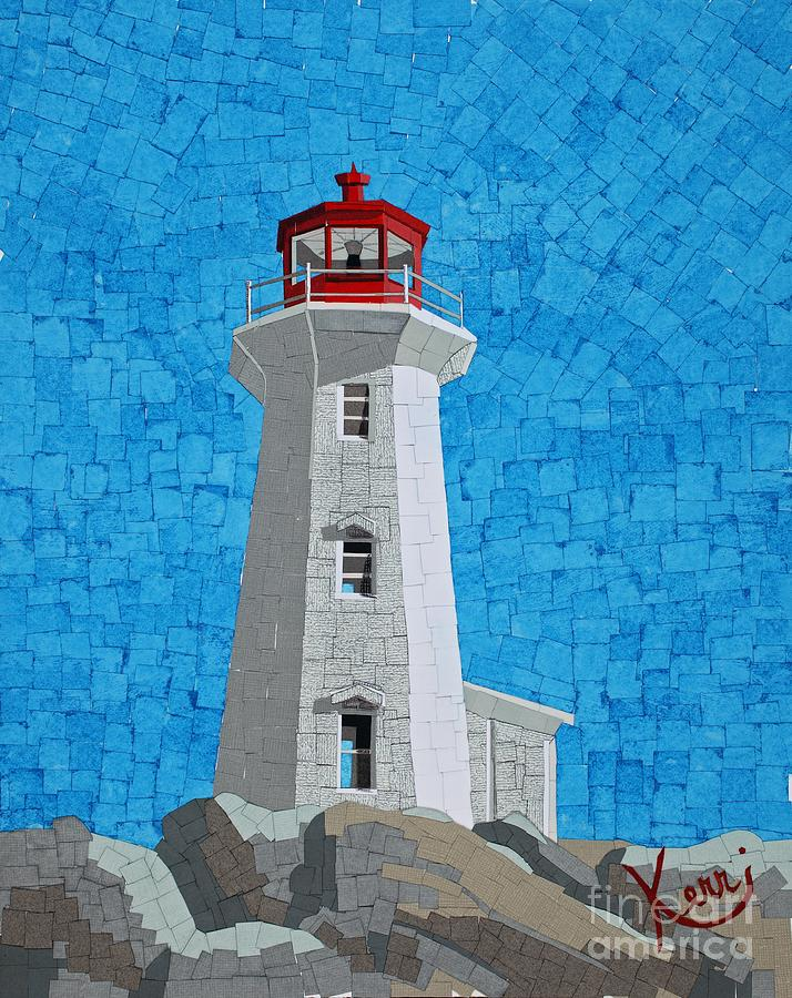 Mosaic Lighthouse Mixed Media  - Mosaic Lighthouse Fine Art Print