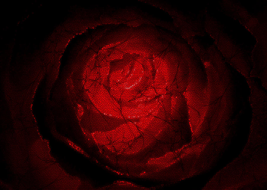 Mosaic Rose Digital Art  - Mosaic Rose Fine Art Print