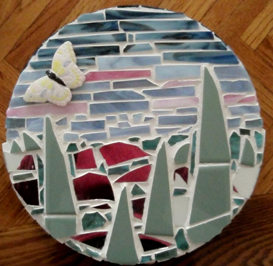 Mosaic Sailboats Glass Art