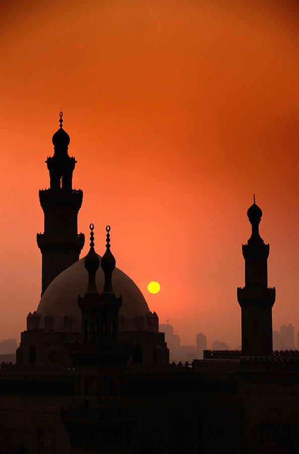 Vertical Photograph - Mosques And Sunset In Cairo, Egypt by Glen Allison