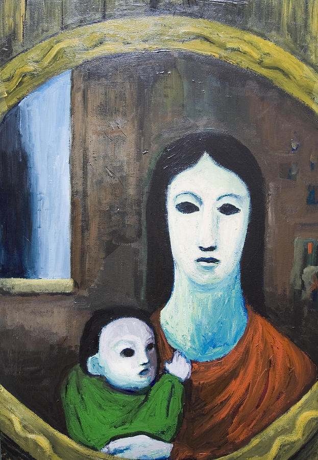 Mother And A Child In The Mirror Painting