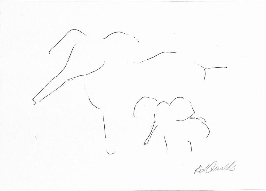 Elepahant Drawing - Mother And Baby by B L Qualls