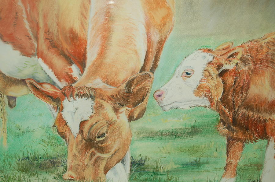 Cow Pastel - Mother And Baby by Teresa Smith