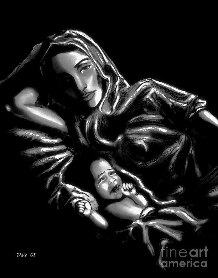 Mother And Child Digital Art  - Mother And Child Fine Art Print