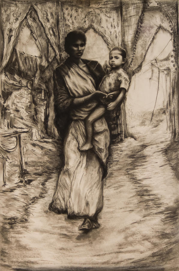 Mother And Child Drawing  - Mother And Child Fine Art Print