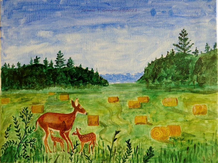 Mother Deer And Kids Painting  - Mother Deer And Kids Fine Art Print