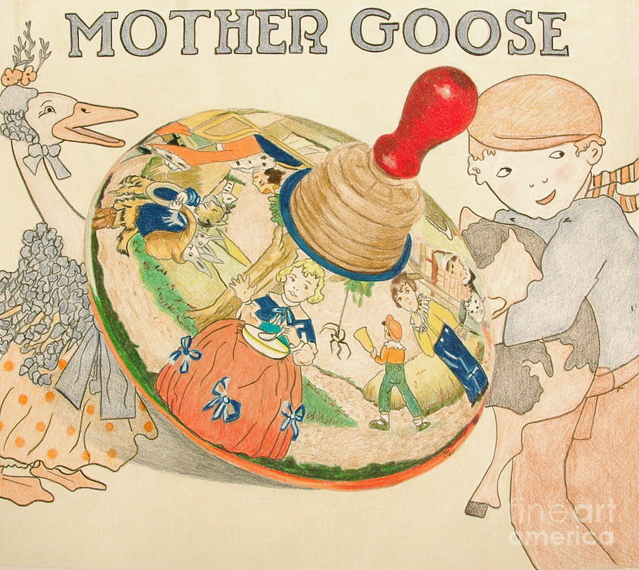 Mother Goose Spinning Top Drawing  - Mother Goose Spinning Top Fine Art Print
