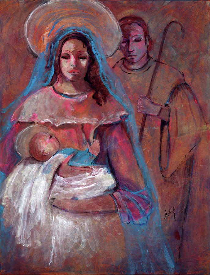 Mother Mary With Joseph And Jesus Baby Painting