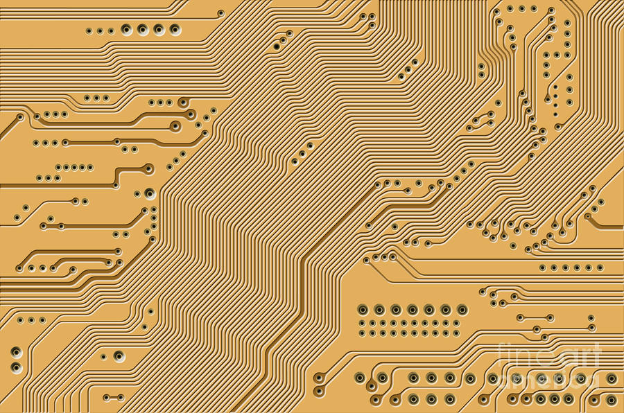 Motherboard - Printed Circuit Digital Art  - Motherboard - Printed Circuit Fine Art Print