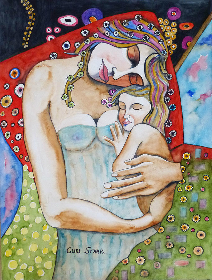 Motherhood - Tribute To Klimt Painting  - Motherhood - Tribute To Klimt Fine Art Print
