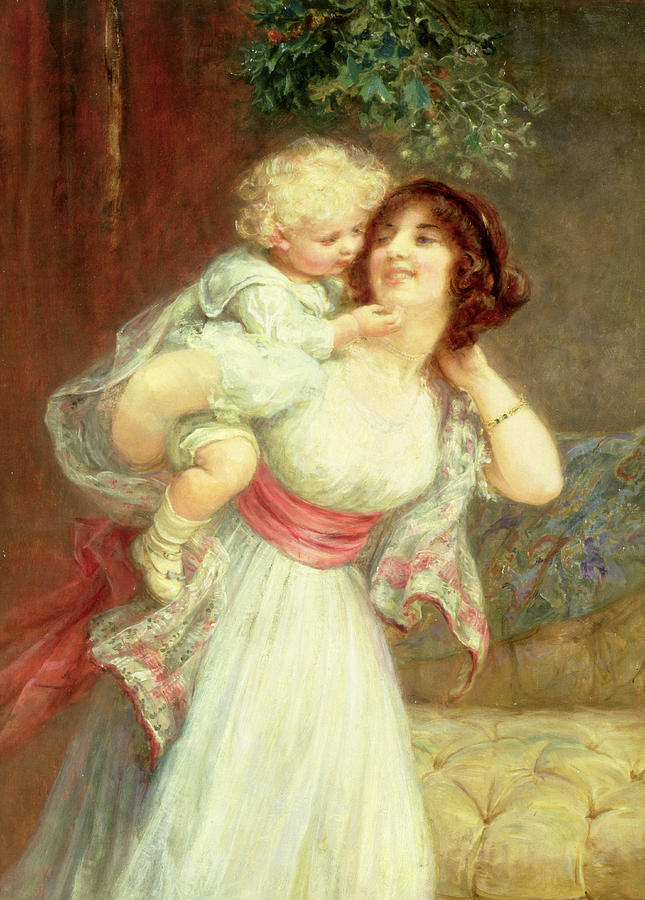 Mother's Darling (oil On Canvas) Mother; Son; Baby; Motherhood; Piggy-back; Piggy Back; Carrying; Under Mistletoe; Affection; Caressing; Caress; Love; Child; Interior; Enfant Cheri; Quaint Painting - Mothers Darling by Frederick Morgan