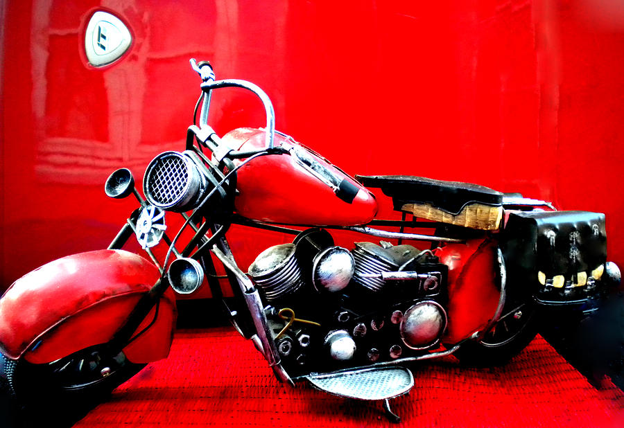 Motor Cycle Getting A Wash And Kick Photograph  - Motor Cycle Getting A Wash And Kick Fine Art Print