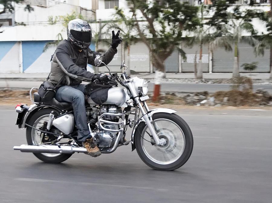 Motorbiker Peace Photograph