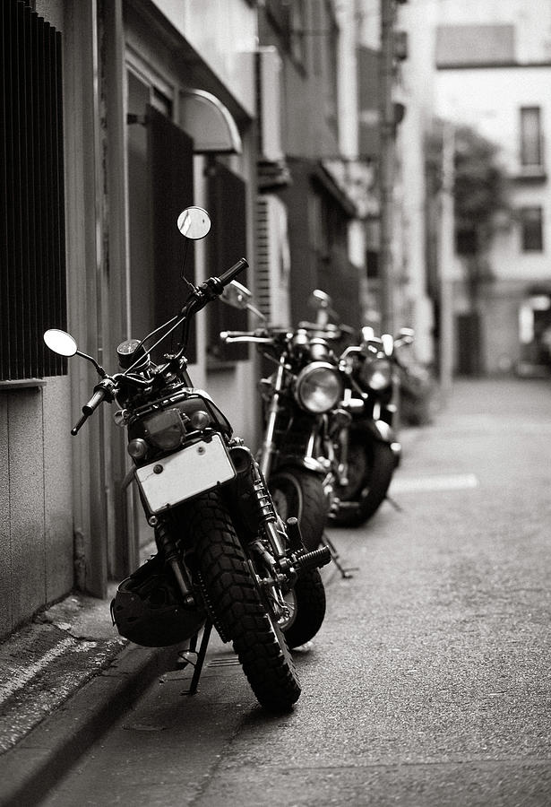 Motorbikes Parked On Street In Tokyo, Japan Photograph