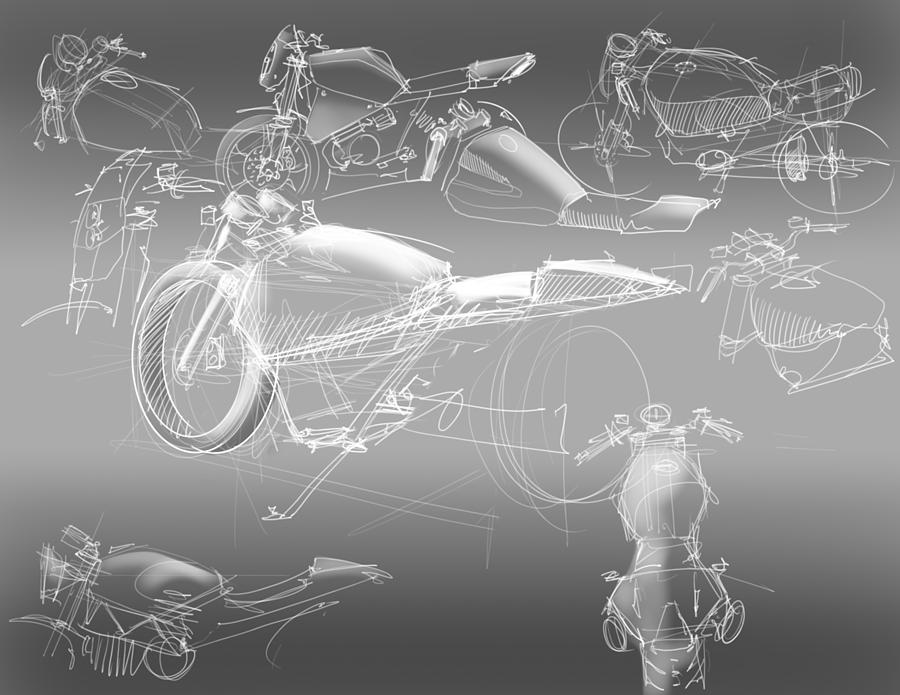 Motorcycle Concept Sketches Drawing