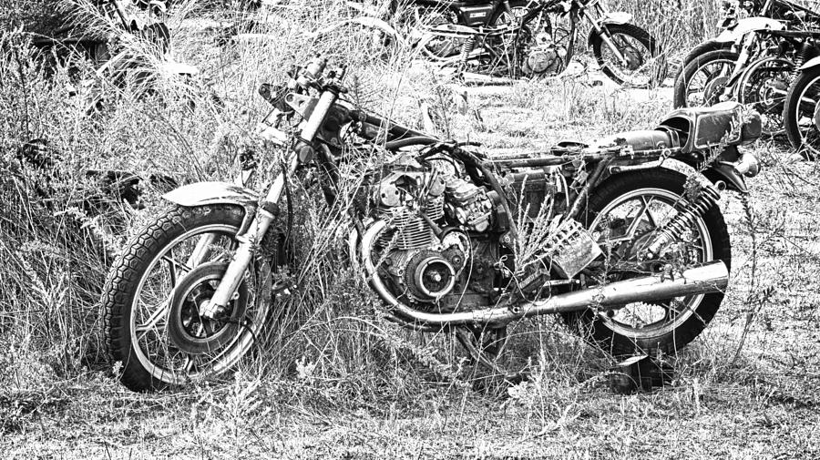 Motorcycle Graveyard Photograph