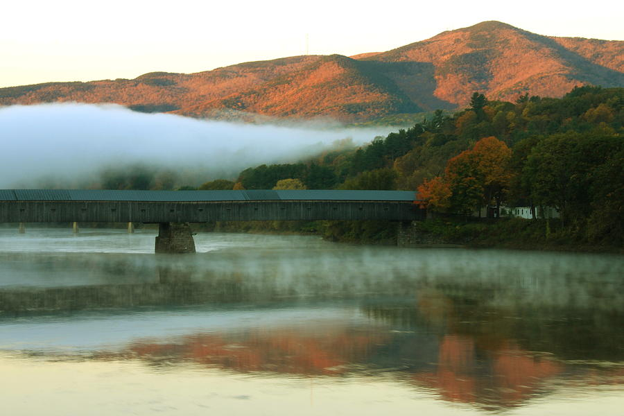 Mount Ascutney And Windsor Cornish Bridge Sunrise Fog Photograph