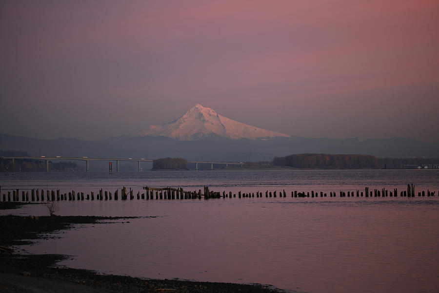 Mount Hood And Columbia River Oregon Washington Photograph