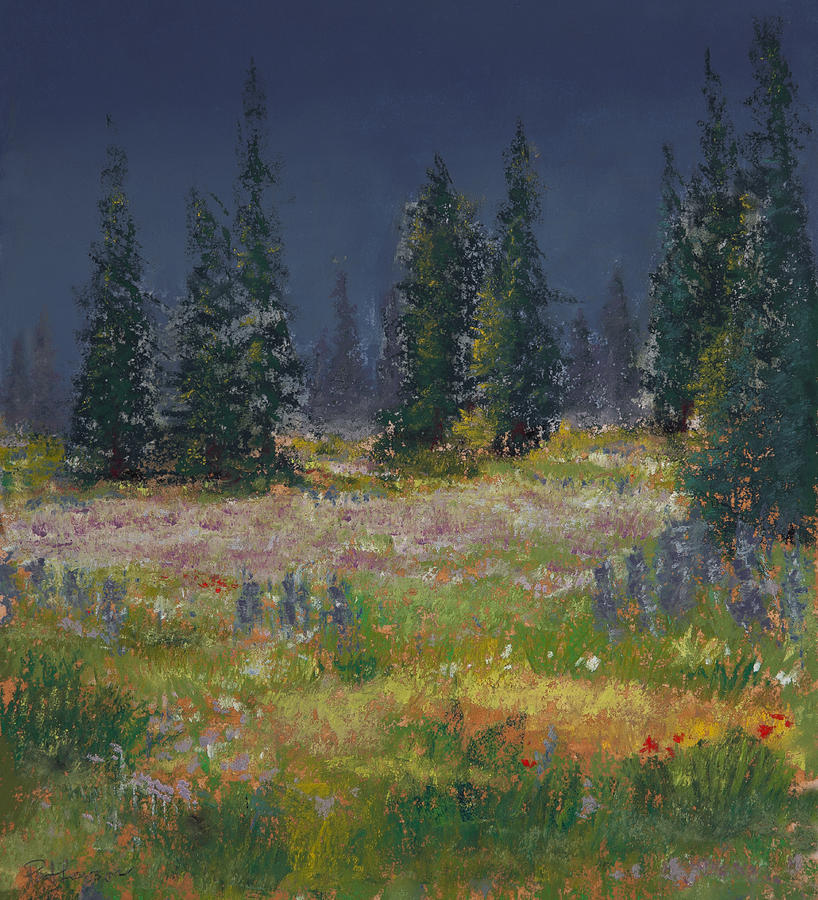 Mount Rainier Meadow Painting  - Mount Rainier Meadow Fine Art Print