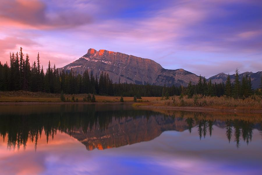 Blue Sky Photograph - Mount Rundle And The Cascade Ponds In by Carson Ganci