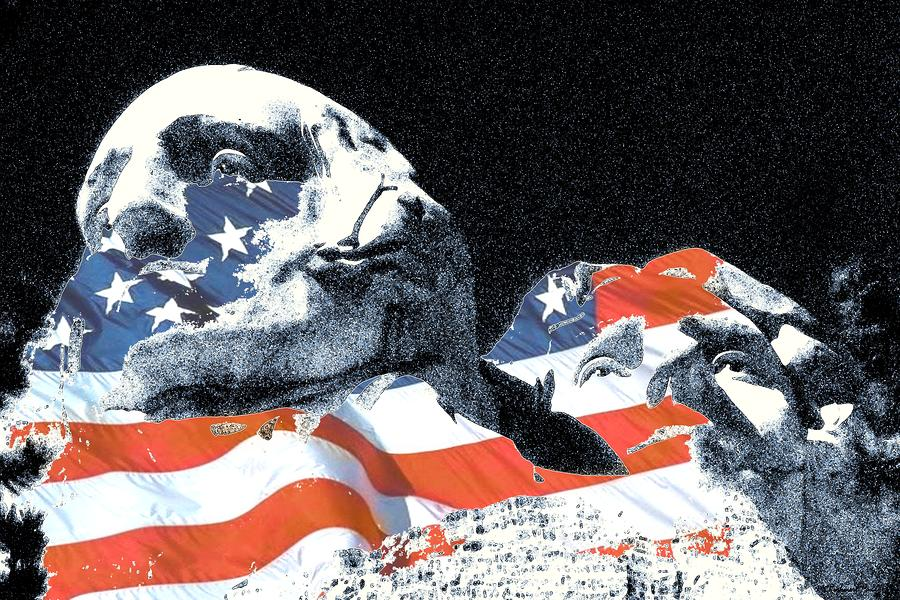 Mount Rushmore Stars And Stripes Digital Art  - Mount Rushmore Stars And Stripes Fine Art Print