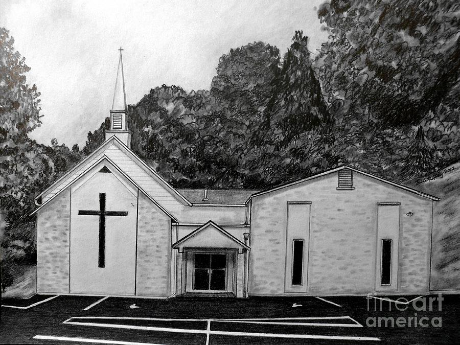 Mount Union Church Of The Brethren Drawing  - Mount Union Church Of The Brethren Fine Art Print