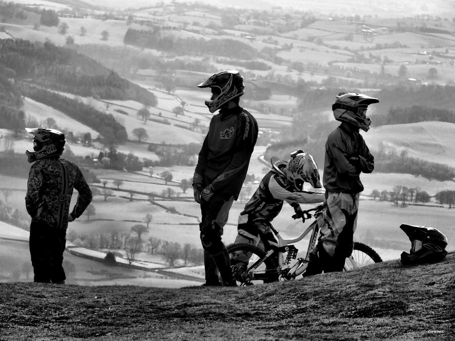 Mountain Bikers On Top Of The Mountain Photograph
