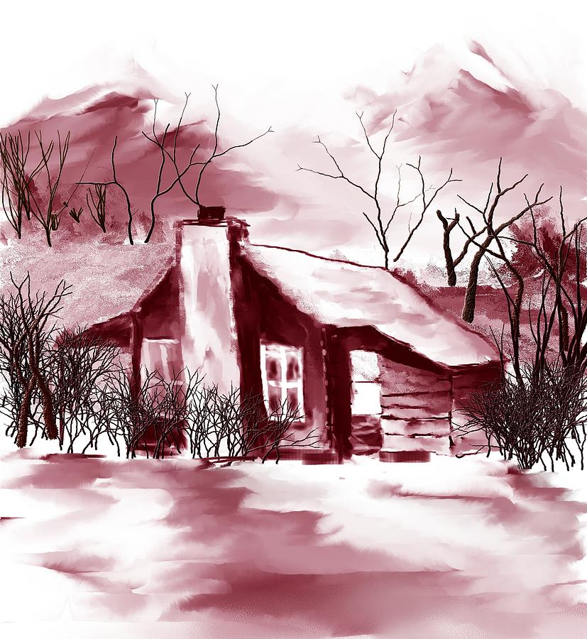 Mountain Cabin Digital Art  - Mountain Cabin Fine Art Print