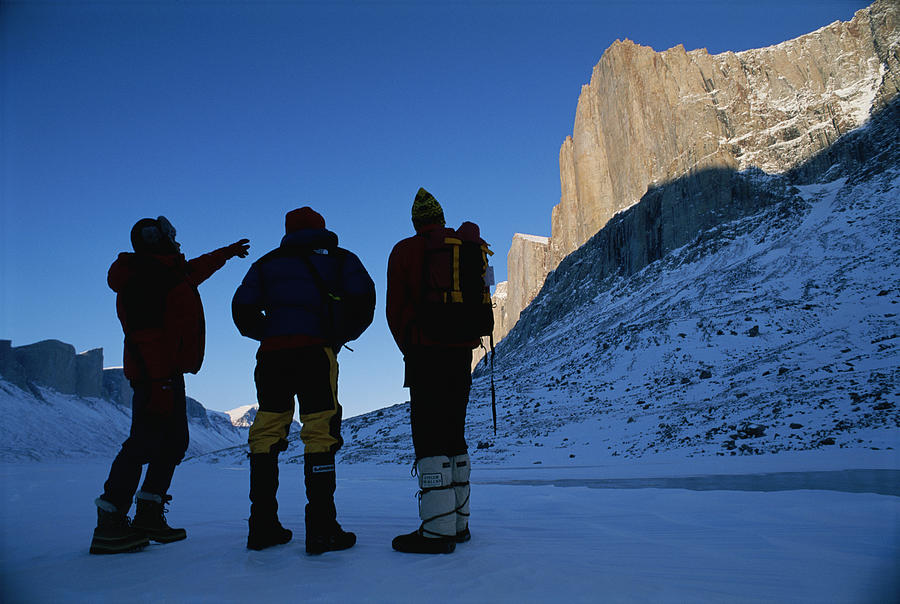 Color Image Photograph - Mountain Climbers On Frozen Stewart by Gordon Wiltsie
