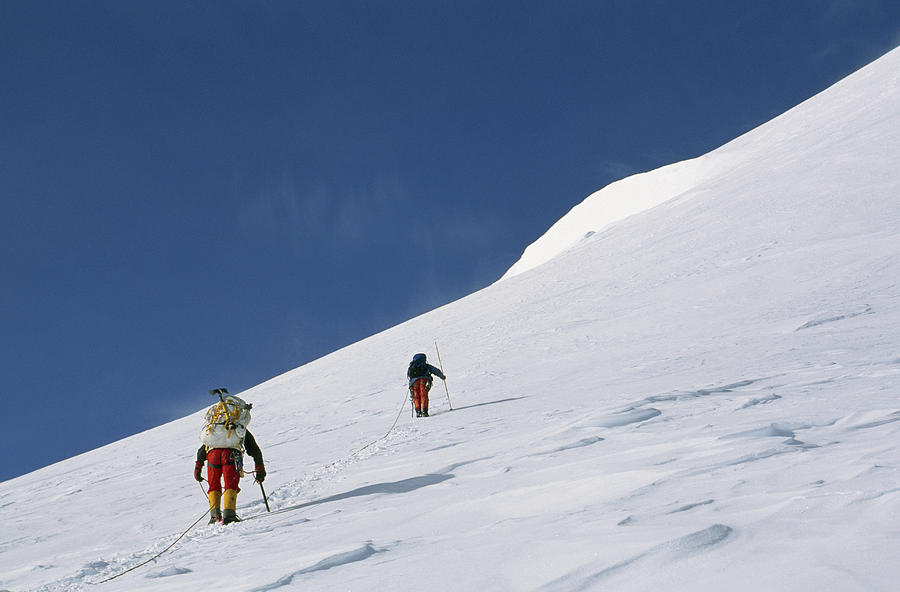 Mountain Climbers Use Safety Ropes Photograph
