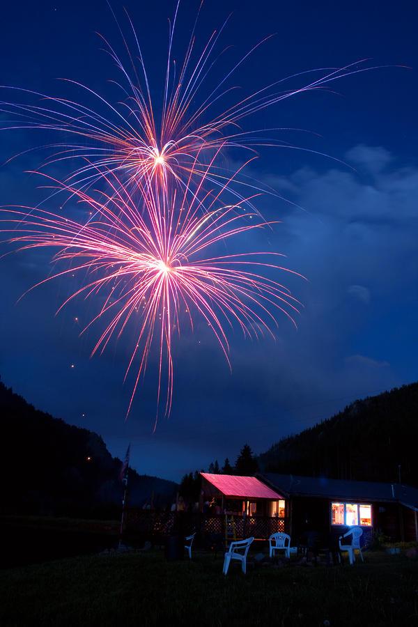 Mountain Fireworks Landscape Photograph