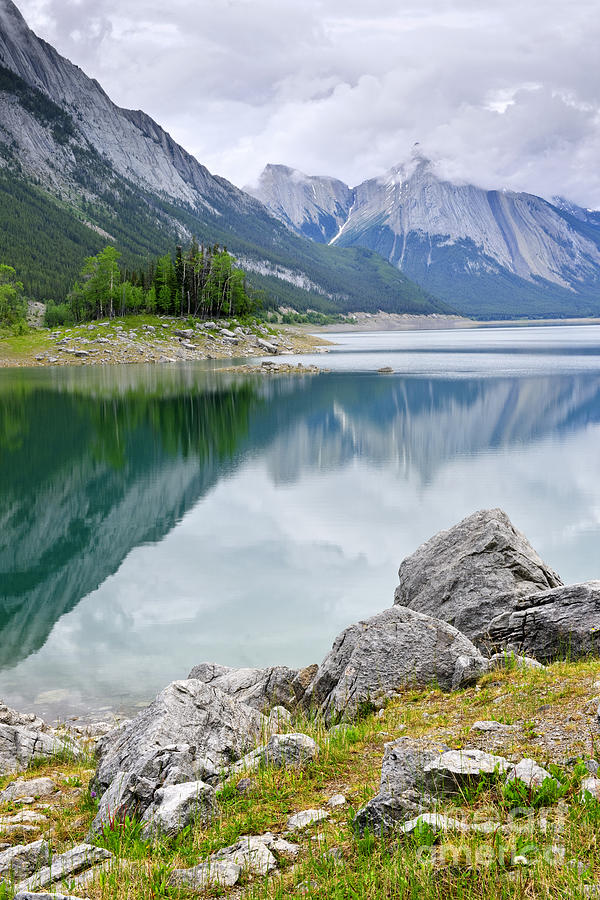 Mountain Lake In Jasper National Park Photograph  - Mountain Lake In Jasper National Park Fine Art Print