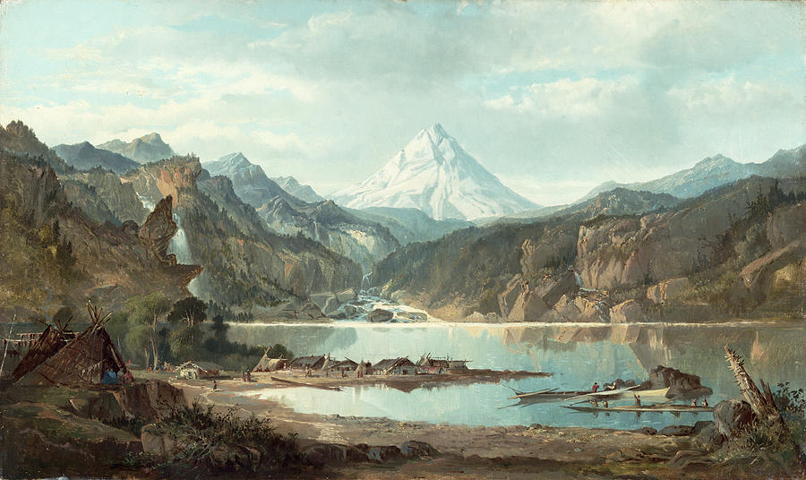 Mountain Landscape With Indians Painting