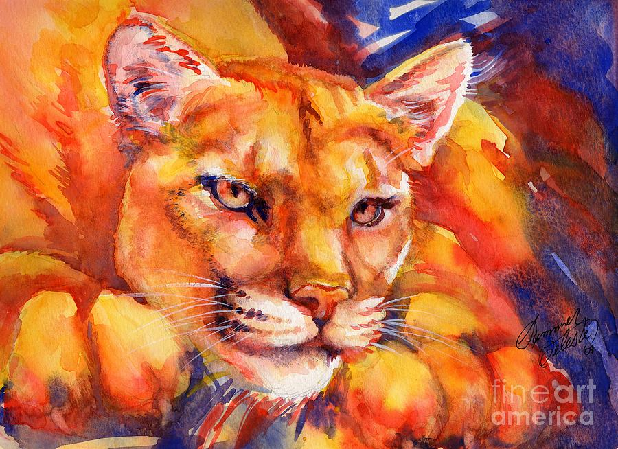 Mountain Lion Red-yellow-blue Painting
