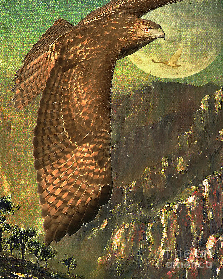 Mountain Of The Hawks Digital Art  - Mountain Of The Hawks Fine Art Print