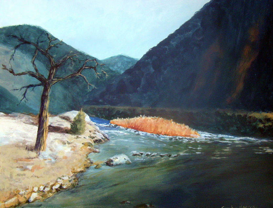 Mountain River Painting  - Mountain River Fine Art Print