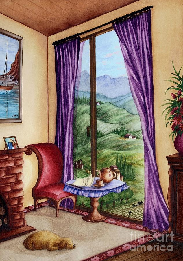 Mountain Scene Seen Through A Window Painting