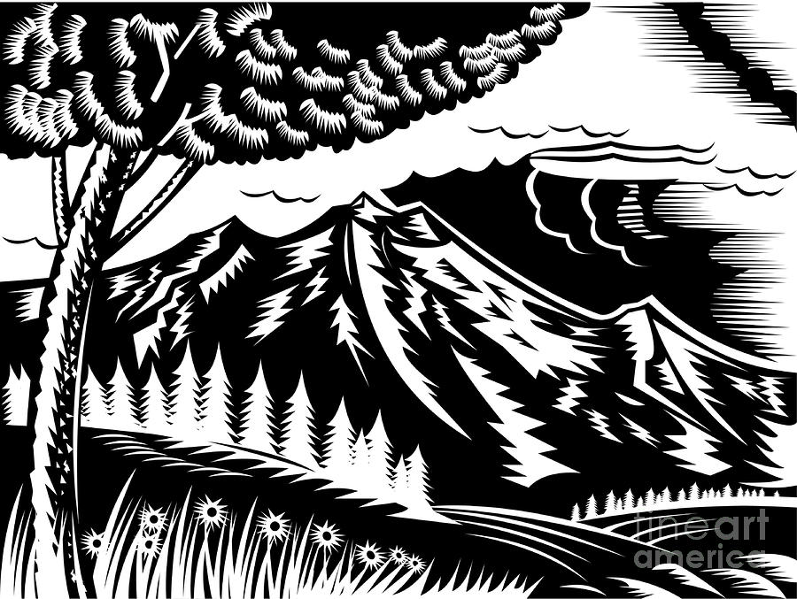 Mountain Scene Woodcut Digital Art