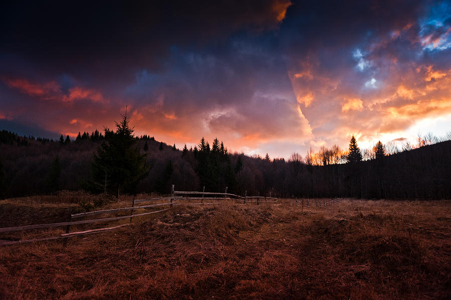Mountain Sunrise Pyrography