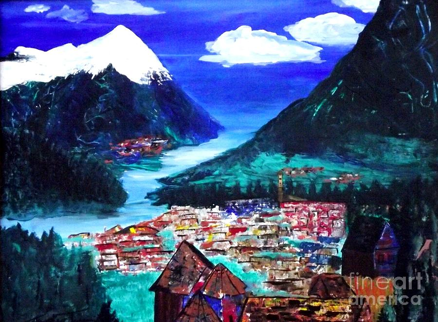 Mountain Village Painting