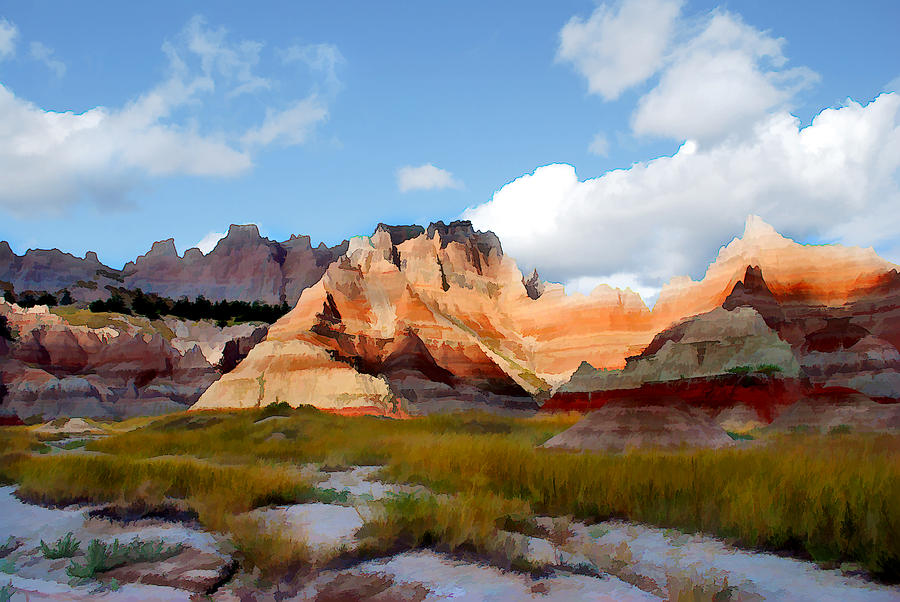 Landscape Painting - Mountains And Sky In Badlands National Park by Elaine Plesser
