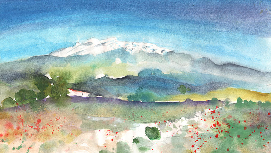 Travel Sketch Painting - Mountains By Agia Galini by Miki De Goodaboom