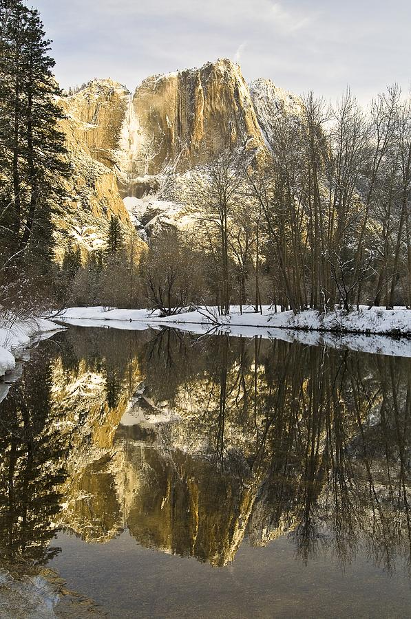 Mountains Reflecting In Merced River In Photograph