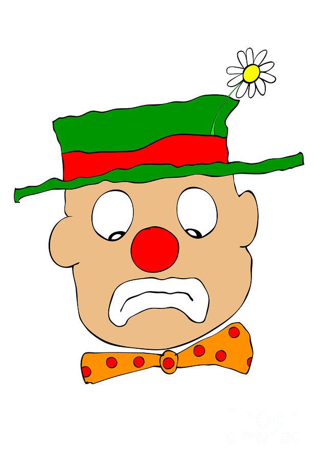 Mournful Clown Digital Art
